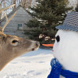 Deer with snowman — Stock Photo #11714203