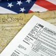 Tax form on flag — Stock Photo