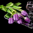 Wine and tulips — Stockfoto #11714296