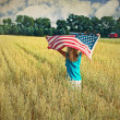 Stock Photo: Girl with flag