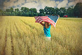 Girl with flag — Stock Photo
