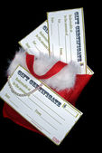 Gift certificates in stocking — Stock Photo