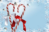 Candy canes with bubbles — Stock Photo
