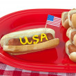 American patriotic hot dog — 图库照片