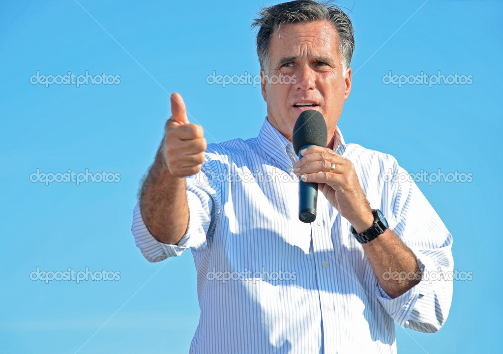 Mitt Romney giving a campaign speech outdoors. — Stock Photo #11884374