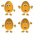Vector set of four eggs (smiley) — Stock Vector