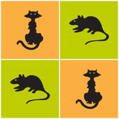 Cat and mouse eamless — Vector de stock