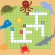 Sea animal puzzle (crossword), words game for children — Stock Vector #11151101