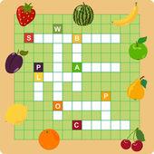 Crucigrama de fruta — Vector de stock