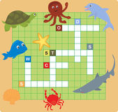 Sea animal puzzle (crossword), words game for children — ストックベクタ