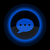 Blue glossy web button with chat room sign — Stock Vector