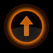 Orange glossy internet button with arrow upload symbol — Stock Vector
