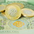Polish two zloty coins standing on hundred zloty bill — Stock Photo
