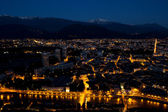 Grenoble by night - view from Bastille — Stock Photo
