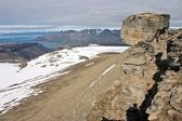 The Peak of Trollsteinen Above Isfjorden Fjord on Svalbard — ストック写真