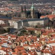 Aerial View of Prague Castle and the Old Town Quarter. — Stock Photo