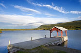 湖 jackvik の村での着陸 — ストック写真
