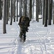 A Man in the Uniform Walking Through Winter Forest with Snowshoes — Stock Photo