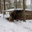 Old Log Cabin in Winter Forest — Stock Photo