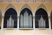 Pipe Organ in Christian Church in Prague — Stock Photo
