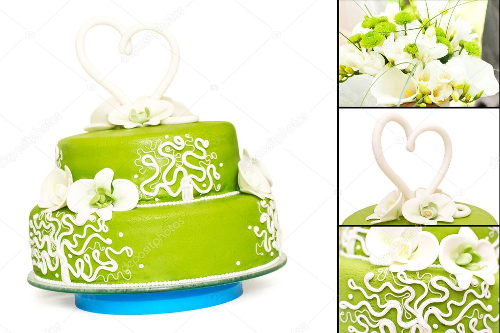 A green wedding cake — Stock Photo #11093636