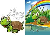 Turtle on river — Stock Vector