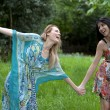 Two frinds ouside in summer dress' - Stock Photo