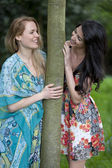 Two frinds ouside in summer dress' — Stock Photo