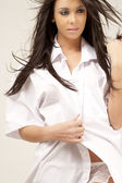 Young model in white shirt — Stock Photo
