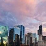 západ slunce v Chicagu — Stock fotografie