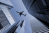 Airplane above city of Chicago. — Stock Photo