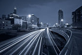 Nighttime highway traffic. — Stock Photo