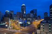 Image of the Indianapolis skyline and streets during twilight blue hour. — Stock Photo
