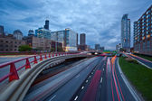 Busy city highway at twilight. — Stock Photo