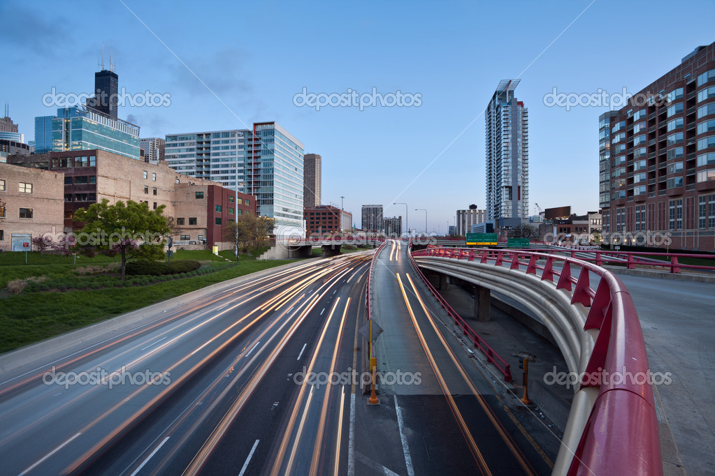 Image of interstate I-90/94 in Chicago downtown during the twilight. — Stock Photo #11623598