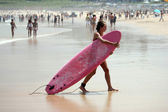 Woman with Surfboard — Stock Photo