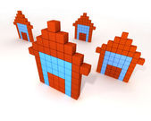 3d buildings like computer icon — Stock Photo