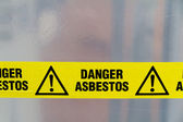 Asbestos warning sign — Stock Photo