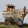 Old fishing trawler being broken up — Stock Photo