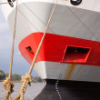 Moored ship bow showing loading guage and anchor — Stock Photo #11067530