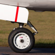 Постер, плакат: Nose landing wheel of a modern jet airliner