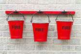 Three Fire Buckets — Stock Photo