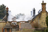 Fire in a Thatched Cottage — Stock Photo
