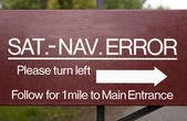 Cartello di segnalazione errore navigazione satellitare — Foto Stock