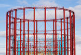 Group of three restored gasholders — Stock Photo