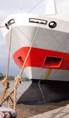 Moored ship bow showing loading guage and anchor — Stock Photo