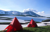 Campsite under Mutnovsky Volcano,Kamchatka — Stock Photo
