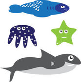Collection of sea animals 2 — Stock Vector