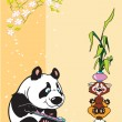 Royalty-Free Stock Imagem Vetorial: Panda and raccoon in meditation