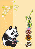 Panda and raccoon in meditation — Stock Vector